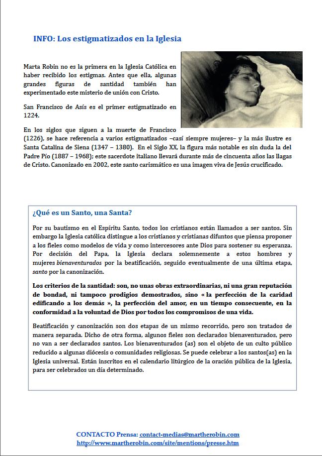 Dosier de prensa Marta Robin venerable 10