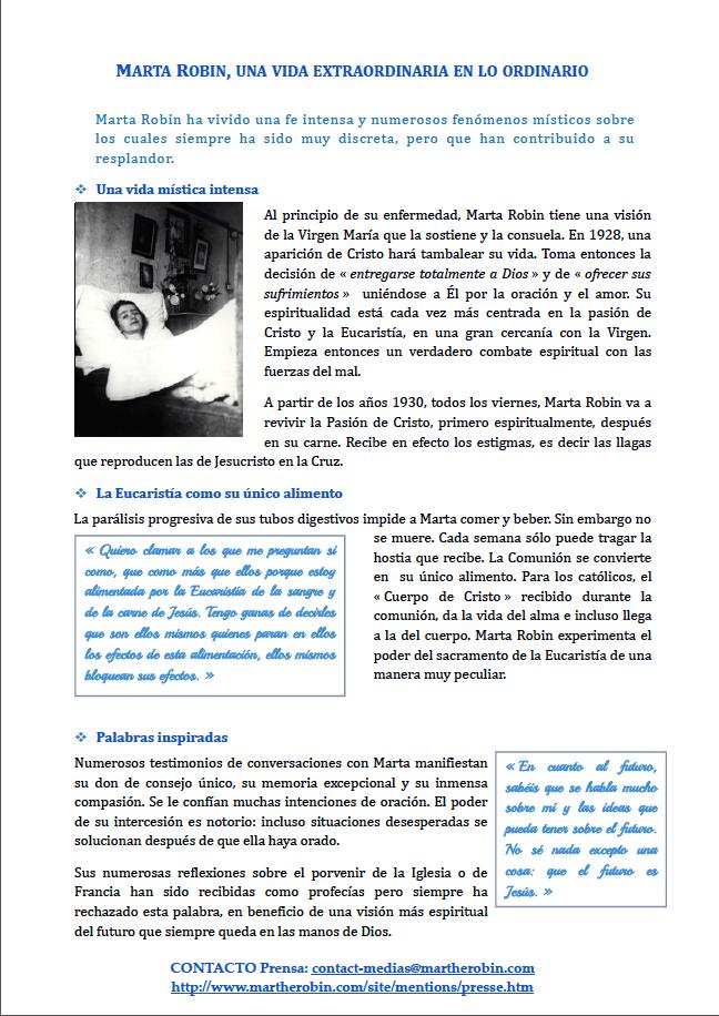 Dosier de prensa Marta Robin venerable 9